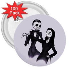 Jack & Sally Addams  3  Buttons (100 Pack)  by lvbart