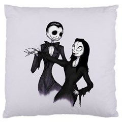 Jack & Sally Addams  Standard Flano Cushion Case (One Side) by lvbart