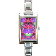 Neon Night Dance Party Pink Purple Rectangle Italian Charm Watch by CrypticFragmentsDesign