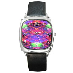 Neon Night Dance Party Pink Purple Square Metal Watch by CrypticFragmentsDesign