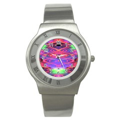 Neon Night Dance Party Pink Purple Stainless Steel Watch by CrypticFragmentsDesign