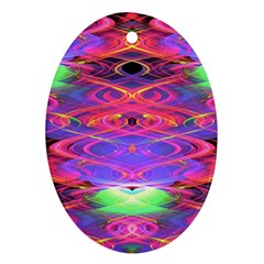 Neon Night Dance Party Pink Purple Oval Ornament (two Sides) by CrypticFragmentsDesign