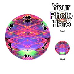 Neon Night Dance Party Pink Purple Playing Cards 54 (round)  by CrypticFragmentsDesign