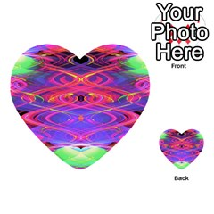 Neon Night Dance Party Pink Purple Multi Purpose Cards (heart)  by CrypticFragmentsDesign