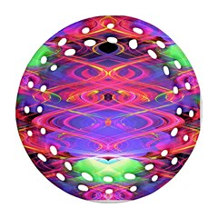 Neon Night Dance Party Pink Purple Round Filigree Ornament (2side) by CrypticFragmentsDesign