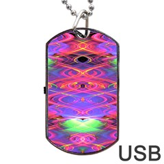 Neon Night Dance Party Pink Purple Dog Tag Usb Flash (one Side) by CrypticFragmentsDesign