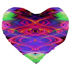Neon Night Dance Party Pink Purple Large 19  Premium Heart Shape Cushions by CrypticFragmentsDesign
