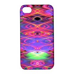 Neon Night Dance Party Pink Purple Apple Iphone 4/4s Hardshell Case With Stand by CrypticFragmentsDesign