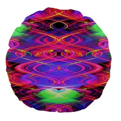 Neon Night Dance Party Pink Purple Large 18  Premium Flano Round Cushions by CrypticFragmentsDesign