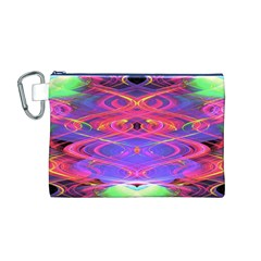 Neon Night Dance Party Pink Purple Canvas Cosmetic Bag (m) by CrypticFragmentsDesign