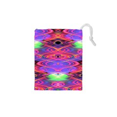 Neon Night Dance Party Pink Purple Drawstring Pouches (xs)  by CrypticFragmentsDesign