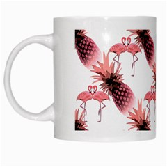 Flamingo Pineapple Tropical Pink Pattern White Mugs