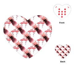Flamingo Pineapple Tropical Pink Pattern Playing Cards (heart)  by CrypticFragmentsColors