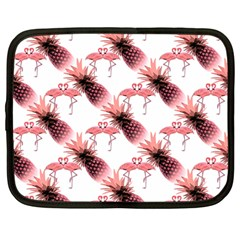 Flamingo Pineapple Tropical Pink Pattern Netbook Case (large) by CrypticFragmentsColors