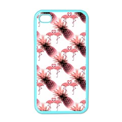 Flamingo Pineapple Tropical Pink Pattern Apple Iphone 4 Case (color) by CrypticFragmentsColors