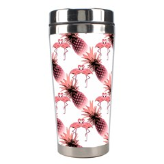 Flamingo Pineapple Tropical Pink Pattern Stainless Steel Travel Tumblers by CrypticFragmentsColors