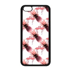 Flamingo Pineapple Tropical Pink Pattern Apple Iphone 5c Seamless Case (black) by CrypticFragmentsColors