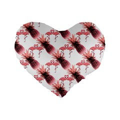 Flamingo Pineapple Tropical Pink Pattern Standard 16  Premium Flano Heart Shape Cushions by CrypticFragmentsColors