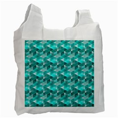Aquamarine Geometric Triangles Pattern Recycle Bag (two Side)  by KirstenStar