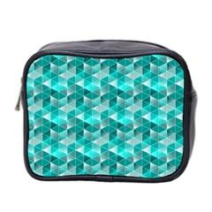 Aquamarine Geometric Triangles Pattern Mini Toiletries Bag 2 Side by KirstenStar