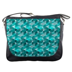 Aquamarine Geometric Triangles Pattern Messenger Bags by KirstenStar