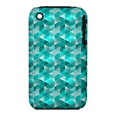 Aquamarine Geometric Triangles Pattern Apple Iphone 3g/3gs Hardshell Case (pc+silicone) by KirstenStar