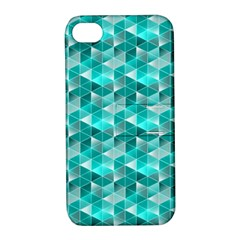 Aquamarine Geometric Triangles Pattern Apple Iphone 4/4s Hardshell Case With Stand by KirstenStar