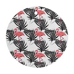 Flamingos Palmetto Fronds Tropical Pattern Ornament (round)  by CrypticFragmentsColors
