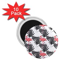 Flamingos Palmetto Fronds Tropical Pattern 1.75  Magnets (10 pack)  by CrypticFragmentsColors