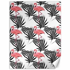 Flamingos Palmetto Fronds Tropical Pattern Canvas 36  X 48   by CrypticFragmentsColors