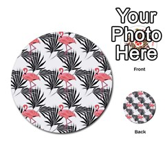 Flamingos Palmetto Fronds Tropical Pattern Multi Purpose Cards (round)  by CrypticFragmentsColors