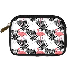 Flamingos Palmetto Fronds Tropical Pattern Digital Camera Cases by CrypticFragmentsColors