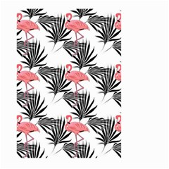Flamingos Palmetto Fronds Tropical Pattern Large Garden Flag (two Sides) by CrypticFragmentsColors
