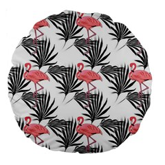 Flamingos Palmetto Fronds Tropical Pattern Large 18  Premium Round Cushions by CrypticFragmentsColors