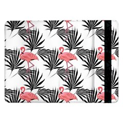 Flamingos Palmetto Fronds Tropical Pattern Samsung Galaxy Tab Pro 12 2  Flip Case by CrypticFragmentsColors