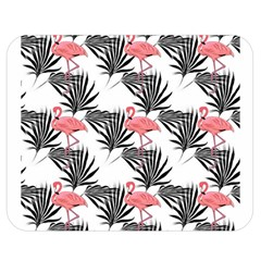 Flamingos Palmetto Fronds Tropical Pattern Double Sided Flano Blanket (Medium)  by CrypticFragmentsColors