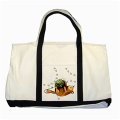 Lovely Cat Playing A Ball Of Wool Two Tone Tote Bag