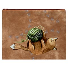 Lovely Cat Playing A Ball Of Wool Cosmetic Bag (xxxl)