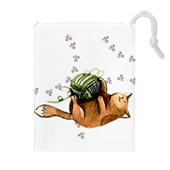 Lovely Cat Playing A Ball Of Wool Drawstring Pouches (extra Large)