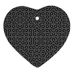 Black And White Ethnic Sharp Geometric  Ornament (heart)  by dflcprints