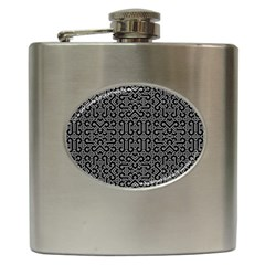 Black And White Ethnic Sharp Geometric  Hip Flask (6 Oz) by dflcprints
