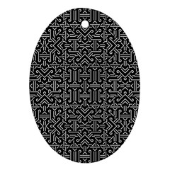 Black And White Ethnic Sharp Geometric  Oval Ornament (two Sides) by dflcprints