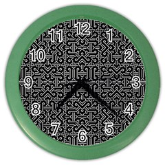 Black And White Ethnic Sharp Geometric  Color Wall Clocks by dflcprints