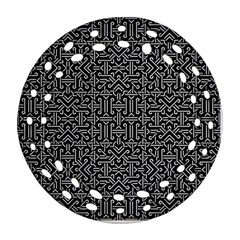 Black And White Ethnic Sharp Geometric  Round Filigree Ornament (2side) by dflcprints