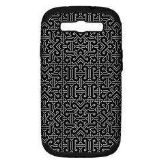 Black and White Ethnic Sharp Geometric  Samsung Galaxy S III Hardshell Case (PC+Silicone) by dflcprints