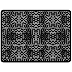 Black And White Ethnic Sharp Geometric  Double Sided Fleece Blanket (large)  by dflcprints