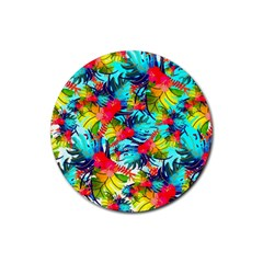 Watercolor Tropical Leaves Pattern Rubber Coaster (Round)  by TastefulDesigns