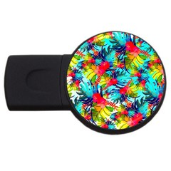 Watercolor Tropical Leaves Pattern Usb Flash Drive Round (4 Gb)  by TastefulDesigns