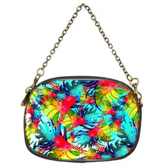 Watercolor Tropical Leaves Pattern Chain Purses (one Side)  by TastefulDesigns