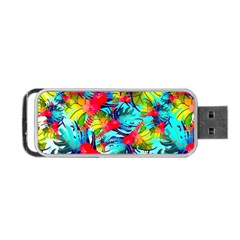 Watercolor Tropical Leaves Pattern Portable Usb Flash (one Side) by TastefulDesigns
